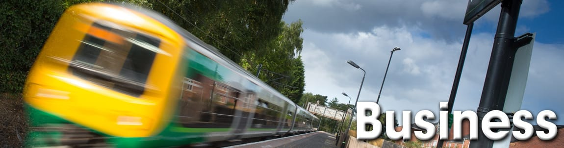 Business web banner showing a train in motion